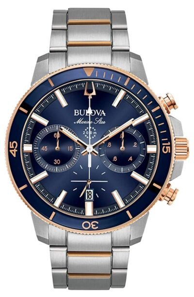Dive piece with dark blue dial and steel band