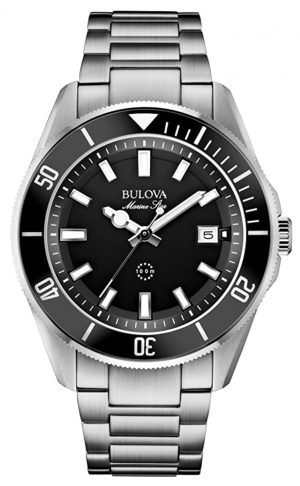 Classic-looking Bulova dive watch with black dial and metal case