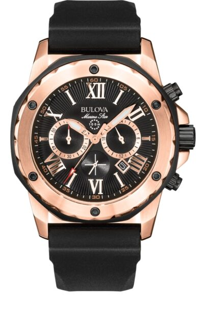 Rose-gold toned Bulova Marine Star water-resistant watch