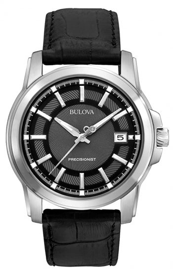 Black and silver timepiece with gliding hand