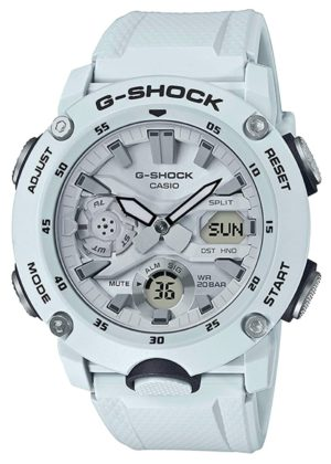 Rugged white G-Shock with multiple pushers