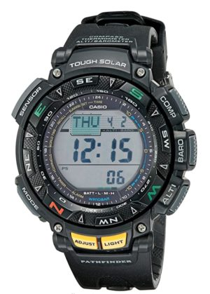Digital outdoor watch with yellow buttons and large case