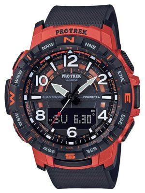 A bluetooth-connected Casio watch with red and black appeal