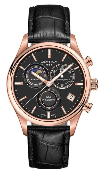 moon phase watch with rose-gold case and black dial