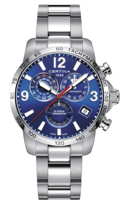 All-metal Certina racing watch with tachymeter bezel