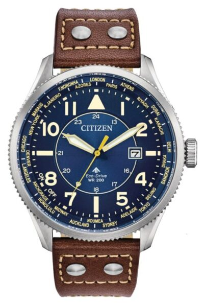 Pilot watch with blue dial and brown leather straps