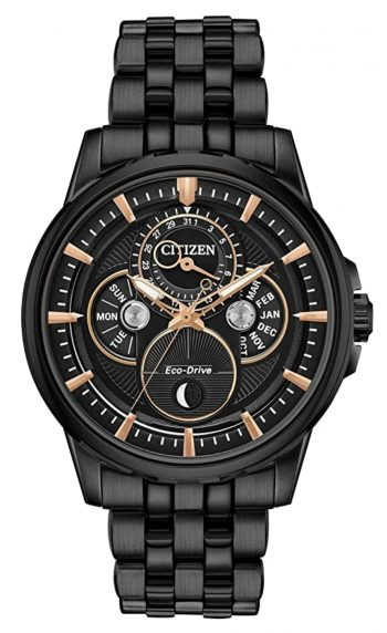 All-black Citizen timepiece with chronograph feature