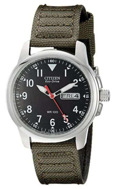 Green canvas and black dial analog watch