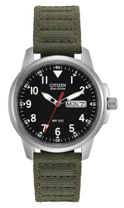 Citizen military-style watch with green canvas