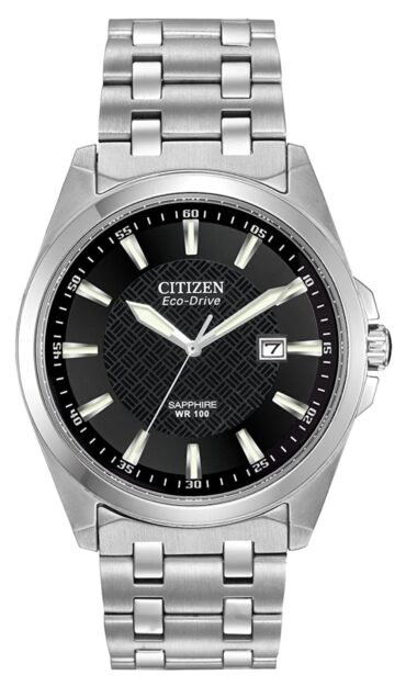 Classic analog watch with black dial and metal band