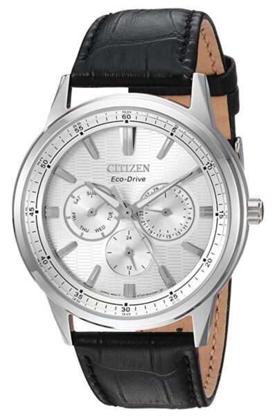 Silver-toned dial Citizen watch with leather bands