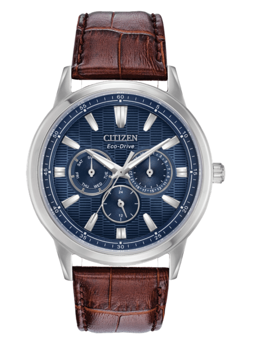 Stainless steel and brown leather casual watch