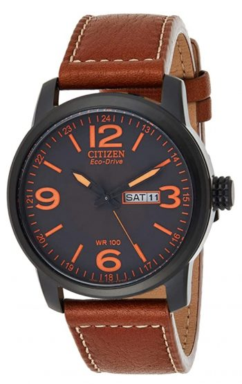Citizen watch with large orange numbers