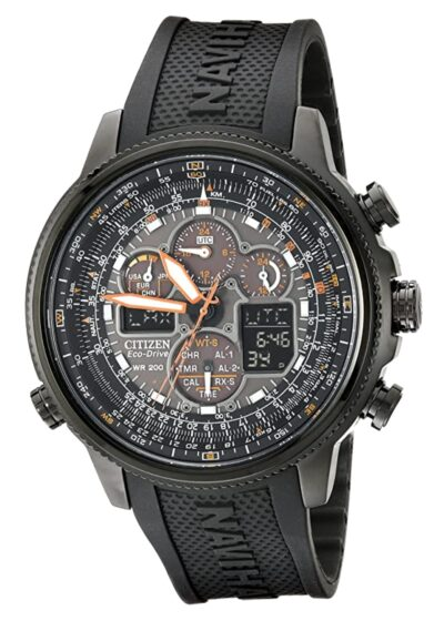 Large watch with busy dark dial and solar power