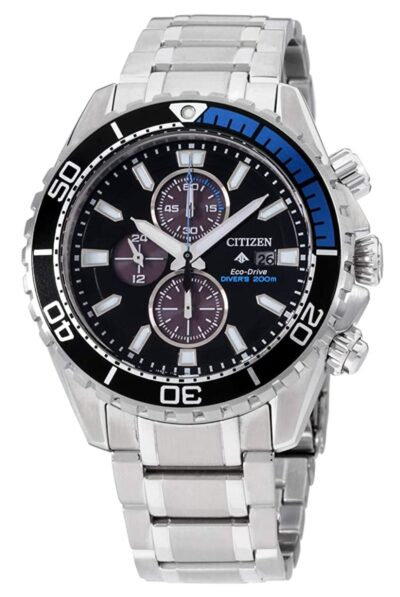 black and blue Citizen piece for diving
