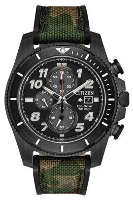 A durable Citizen piece with camouflaged band and black dial