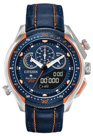 Citizen chronograph watch with blue dial and orange accents