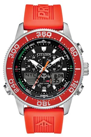 Orange-red watch for yachting