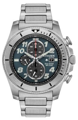 A rugged Citizen metal watch with sapphire crystal