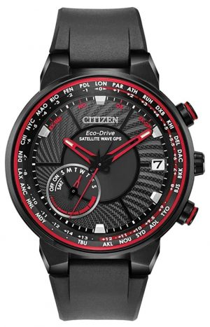 High-tech Citizen watch with red tint and textured dial