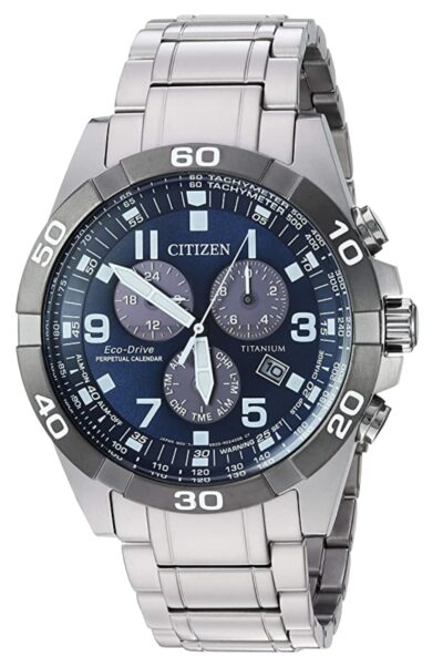 Fully titanium Citizen timepiece with blue dial