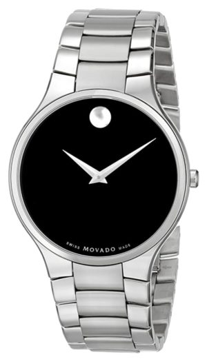 Classic Movado Museum watch with black dial and Swiss quartz