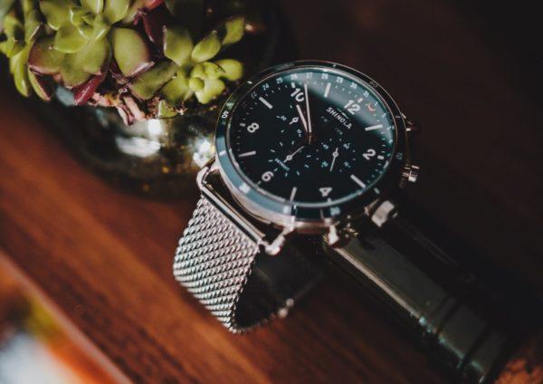 A chronograph Shinola on a table