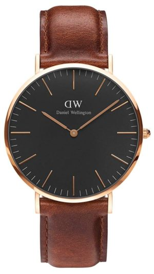 Sophisticated and simplistic fashion watch with black face and brown leather band