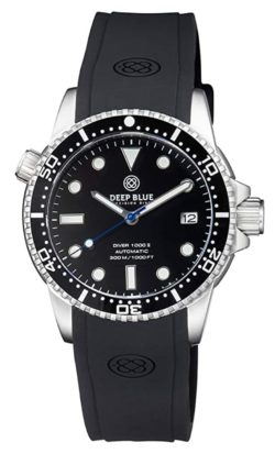 Professional dive watch with rubber band and helium release valve