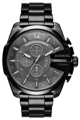 Masculine black timepiece with large case size