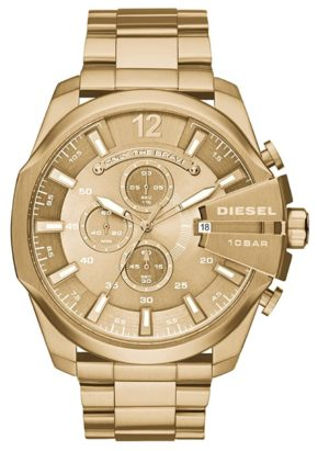 Striking gold watch with big face