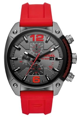 A unique-looking Diesel watch with red strap