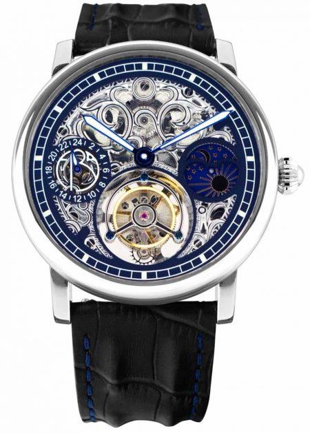 luxurious watch with skeleton dial and tourbillon