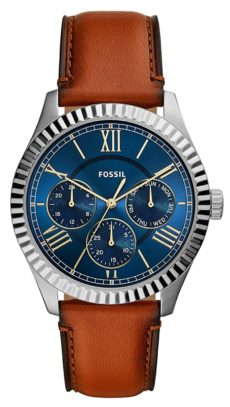 Timepiece with blue sunray dial and leather band