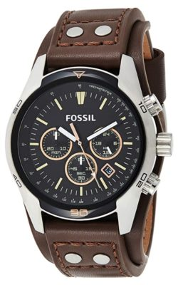 Leather Fossil watch with stopwatch feature