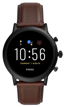 Fossil Carlyle smartwatch with brown leather band