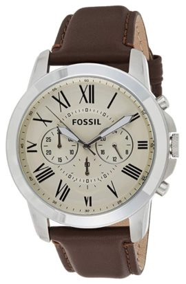Fossil leather watch with chronograph function