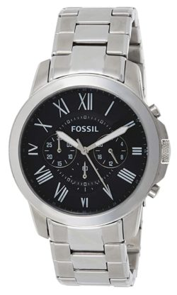 A metal timepiece from Fossil