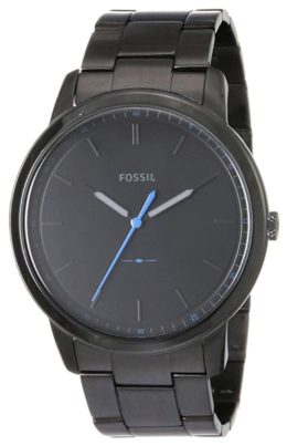 An all-black Fossil watch with blue second's hand