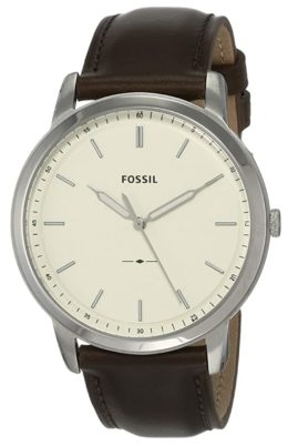 A minimalistic wristwatch with cream dial and leather band