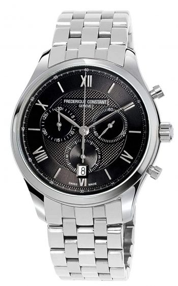 luxurious grey and black Swiss watch
