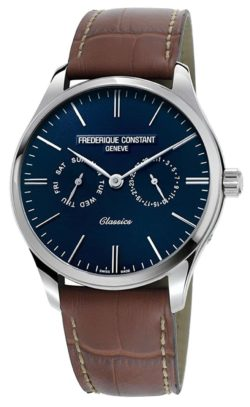 Swiss quartz watch with blue dial