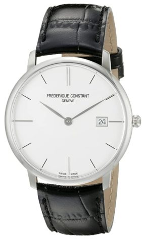 Small and slim watch with clear dial and leather strap