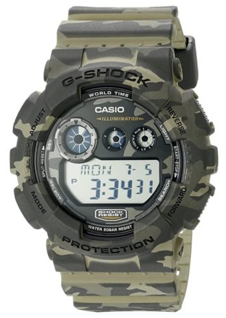 Camouflaged rugged G-Shock with digital face