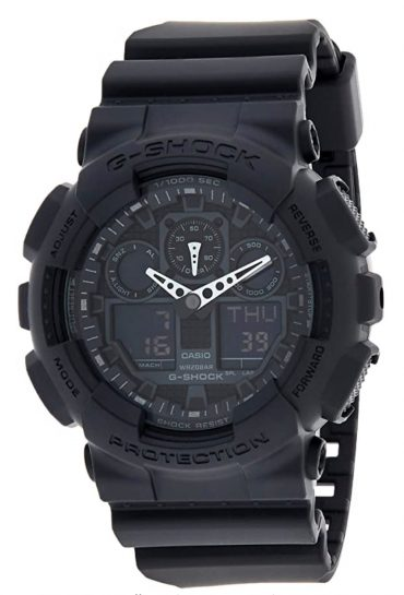 All-black watch with digital dial