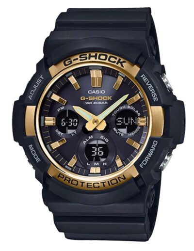 Black G-Shock with golden accent