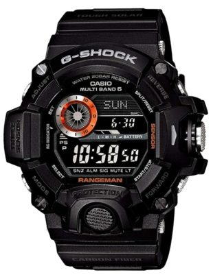 Tough outdoor watch with an all-black and knobby apparel
