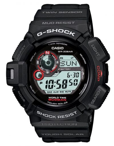 Rugged military watch with black apparel