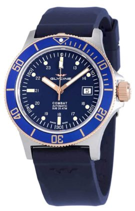 Blue face automatic Swiss-made watch