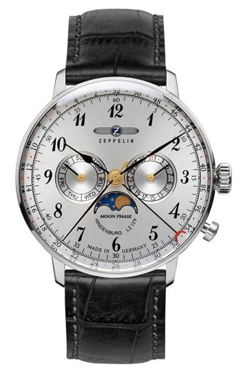 Silver-faced moon phase timepiece
